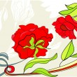 Background with red rose - Stock Vector