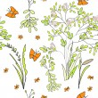 Stock Vector: Seamless wallpaper wild flowers