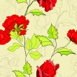 Seamless wallpaper with red roses — Stock Vector