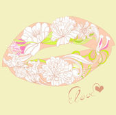 Lips with floral ornament — Stock Vector