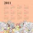 Floral calendar for 2011 — Stock Vector