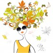 Stock Vector: Fashion girl with autumn hair