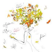 Woman with autumn hair — Stock Vector