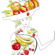 Beautiful woman with fruit — Stock Vector