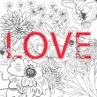 Royalty-Free Stock Vector Image: Inscription LOVE on floral background