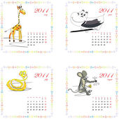 Calendar for 2011 with animals. — Stock Vector