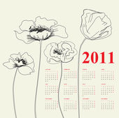 Calendar for 2011 with poppy flowers — Stock Vector
