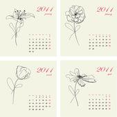 Calendario fiori 2011. parte 1 — Vettoriale Stock