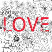 Inscription LOVE on floral background — Vettoriale Stock