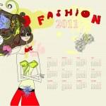 Fashion calendar for 2011 — Stock Vector