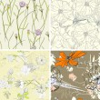 Set of floral seamless wallpaper - Stok Vektör