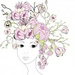 Young woman face with pink flowers — Stock Vector