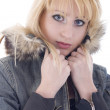 Blond Girl In Fur — Stock Photo