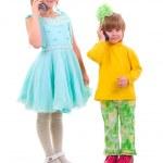 Phone Talking Little Girls. — Stock Photo