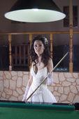 Cute Brunette Bride Playing Billiard — Stock Photo