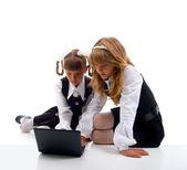 Schoolgirls In Uniform With Laptop. — Stock Photo