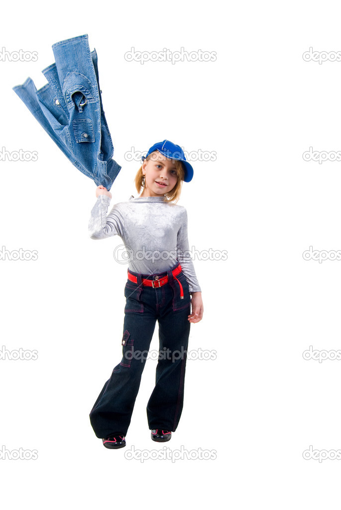 Modern Little Jeans Girl. Studio Shoot Over White Background. — Stock Photo #2989478