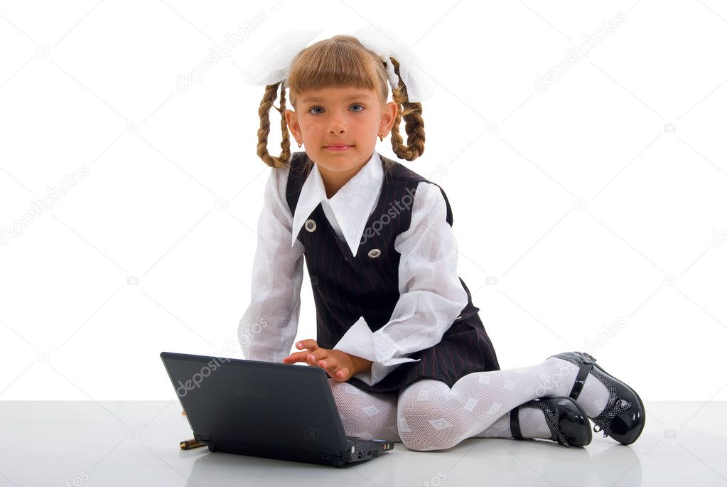 Sitting Schoolgirl And Notebook.Studio Shoot Over White Background.  Stock Photo #2989879