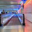 Airport walkway pink — Stock Photo