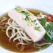 Oriental salmon soup — Stock Photo
