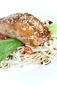 Sesame custed salmon — Stock Photo
