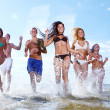 Stock Photo: Happy teenagers playing at the sea