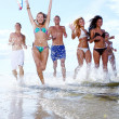 Happy teenagers playing at the sea — Stock Photo #3557450