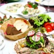 Fresh and tasty food on table — Foto de Stock