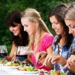 Group of beautiful girls drinking wine — Stockfoto #3670528