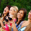 Group of beautiful girls drinking wine — Stock fotografie #3670537