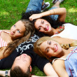 Teenagers group  in the park - 