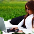 Young and beautiful girl doing home work — Stock Photo #3677460