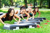 Young and attractive girls doing fitness exercises — Stok fotoğraf