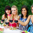 Royalty-Free Stock Photo: Group of young womens drinking wine