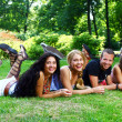 Teenagers group in the park — Stock Photo #3708643