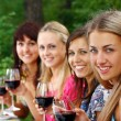 Group of young womens drinking wine — Stock Photo #3803250