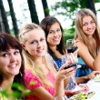 Group of young womens drinking wine — Stockfoto