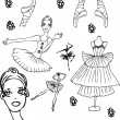 Ballet tattoo icons set woman - Stock Photo