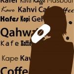 Woman drink Coffee silhouette — Stock Photo