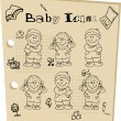 Baby school tattoo doodley icons - Stock Photo