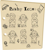 Baby school tattoo doodley icons — Stock Photo