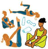 Sport & Fitness woman icons — Stock fotografie
