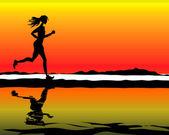 Sportovní & Fitness běžící žena — Stock fotografie