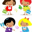 Vector girls back to school icons — Lizenzfreies Foto