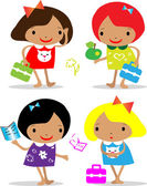 Vector girls back to school icons — Stock Photo