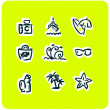 Beach vacation vector icons set 1 — Stock Photo