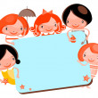 Stock Photo: Cute cartoon kids frame