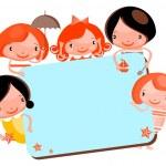 Cute cartoon kids frame — Stock Photo