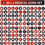 60x2 shiny Medical icons, button web set, eco color — Stock Photo