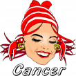 Woman Face Beauty Cancer Horoscope — Stock Photo